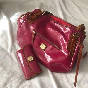 Dooney & Bourne Cranberry Patent Bag & Wallet